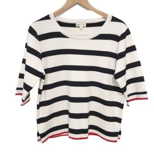 Art + ephect lined striped blue white top Large